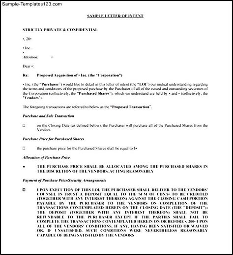 Letter Business Deal Letter Of Intent Stock Purchase Agreement Agreement Of