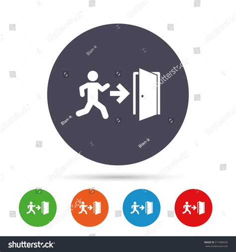 emergency exit icons door with arrow sign stock vector emergency exit human figure sign icon stock vector