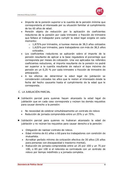 tope maximo jubilacion mas de 65 aos en 2016 informe ugt al rd ley 5 2013