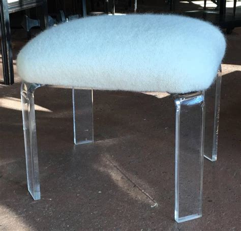 Lucite Ottoman With Natural White Alpaca Boucle Upholstery Lucite Ottoman