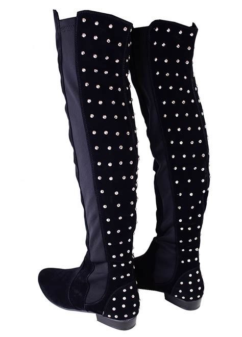 thigh high studded boots boot hto
