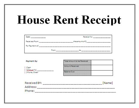 tenant receipt template free house rental invoice receipt template invoice