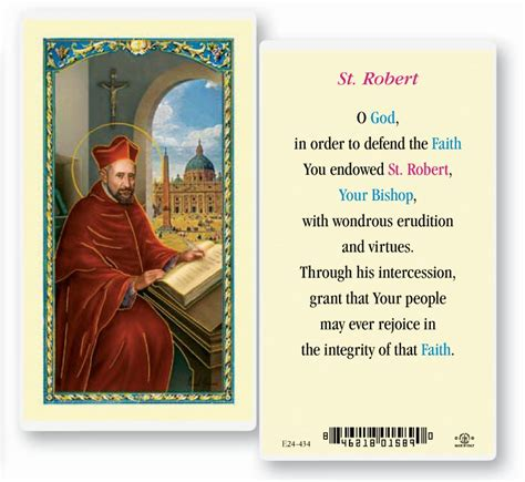 where to put st saint robert laminated holy card