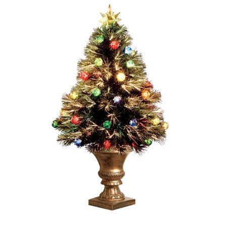 3 ft fiber optic xmas tree celebrations led fiber optic multicolored 3 ft h prelit artificial tree 120 green walmart