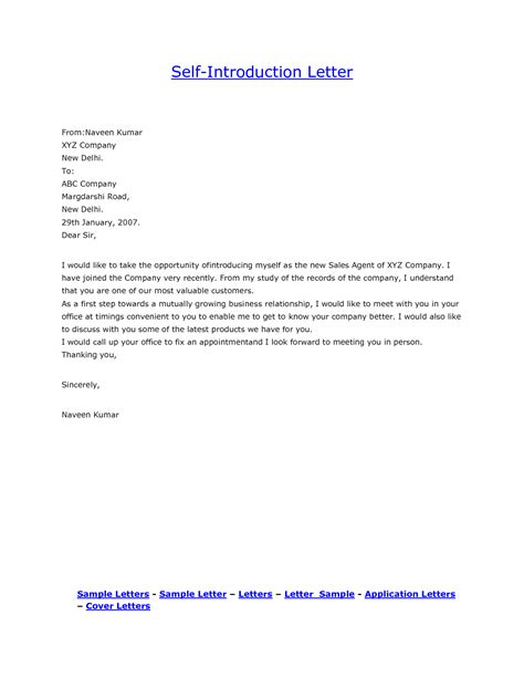 cover letter to introduce yourself personal introduction letter template sle self how to