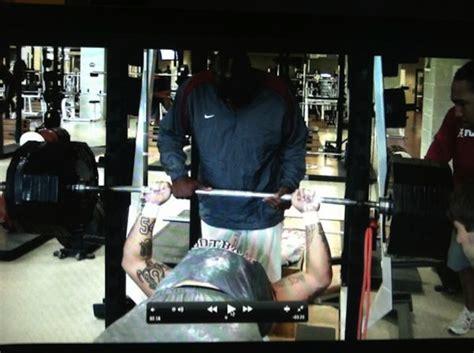 bench press 600 lbs alabama lineman bench presses 600 pounds