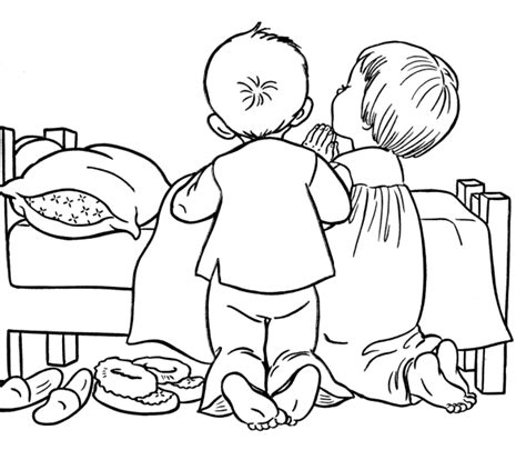 Children Bedtime Mid Gif 600 215 513 Illustrations Clip Praying Child Coloring Page