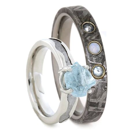 Wedding Rings Gemstones by Gemstone Wedding Ring Set Aquamarine Engagement Ring