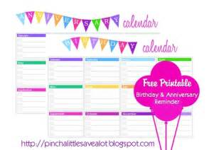 Free printable birthday calendar from pinch a little save a lot