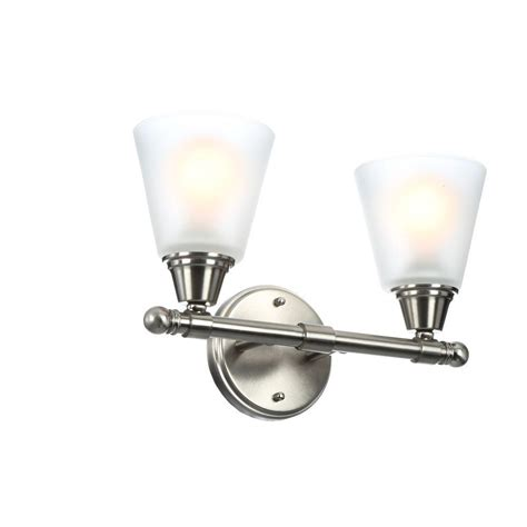 hton bay 2 light brushed nickel bath light 05380 the home depot hton bay 2 light brushed nickel vanity light with frosted white glass shades gjk1392a 2 bn