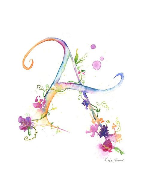 watercolor tattoo font letter with flowers letter a watercolor