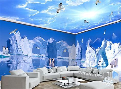 iceberg penguin blue sky ceiling entire living room