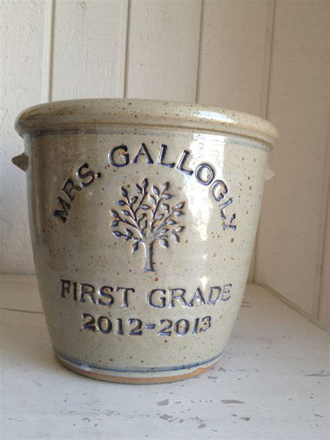 Personalized Crock Planter by Personalized Stoneware Crock With Two Bottom Lines