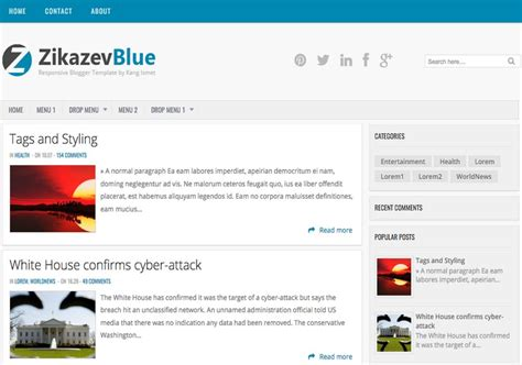 blog themes with ad space zikazev blue magazine blogger template free graphics