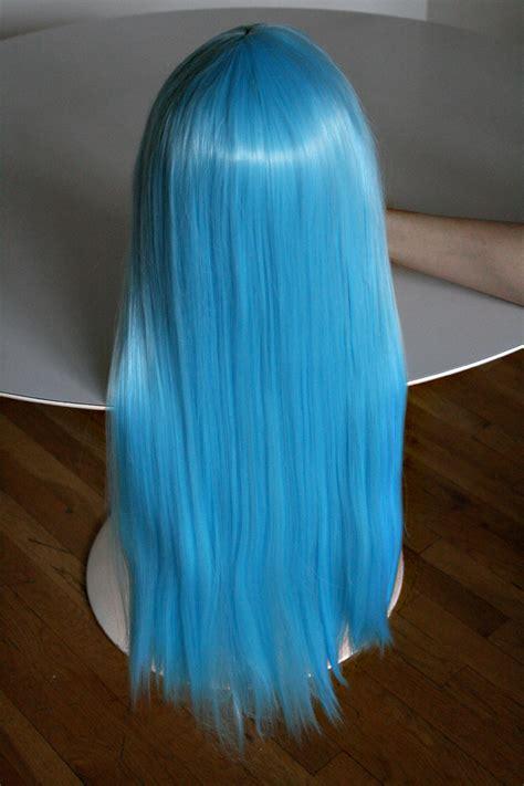 Sky Blue Cosplay Wigs | long straight heat resistant sky blue cosplay wig