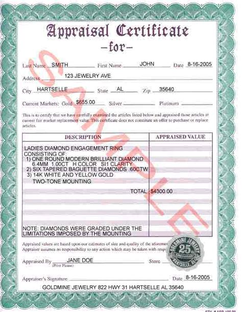 appraisal certificate images