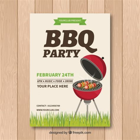 Bbq Invitation Template With Grill Vector Free Download Free Bbq Invitation Template