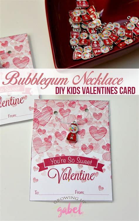 childrens valentines cards bubblegum necklace valentines cards