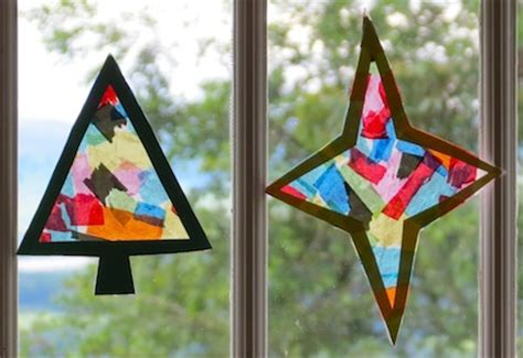 christmas stained glass sun catcher craft preschool