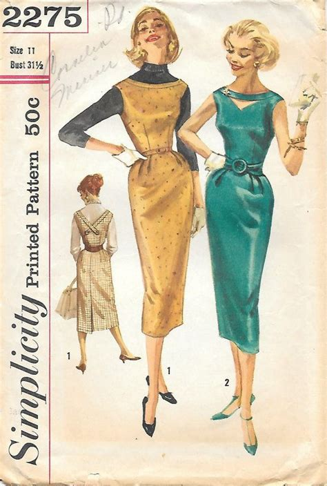 simplicity 2275 1950s pencil skirt dress with low v back