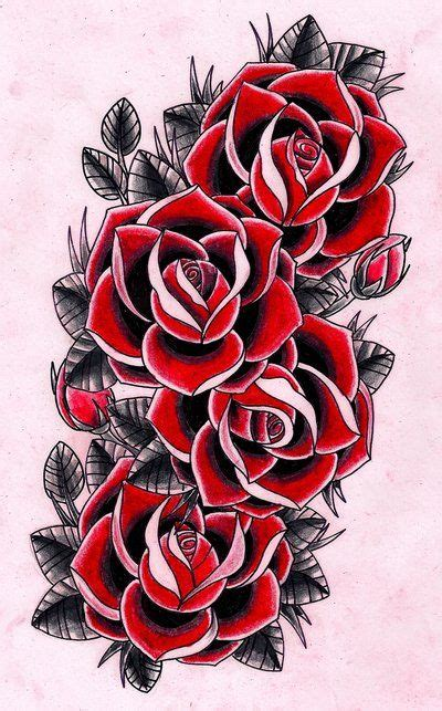new school rose tattoo design the colored version of the bw tattoo with a mock up to