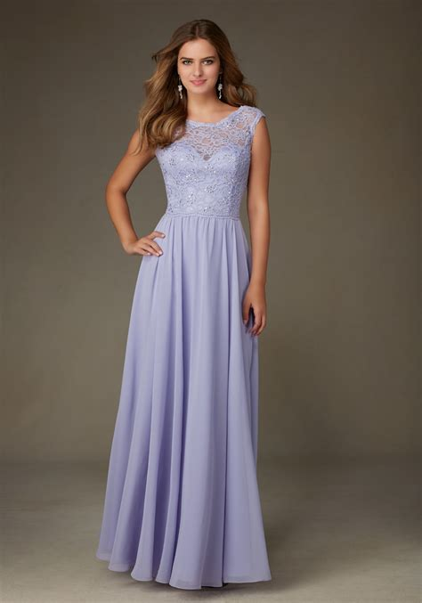 Chiffon Lace Dress chiffon bridesmaid dress with beaded lace bodice style
