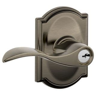 Schlage 00398 Camelot Georgian Antique Pewter Residential Single Lock Front Door Handleset Schlage F51aacc620cam Antique Pewter Accent Single Cylinder Keyed Entry Door Lever Set With