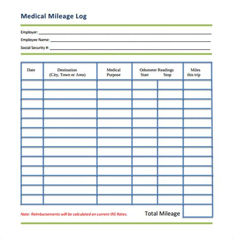 mileage log template 13 free documents in pdf doc