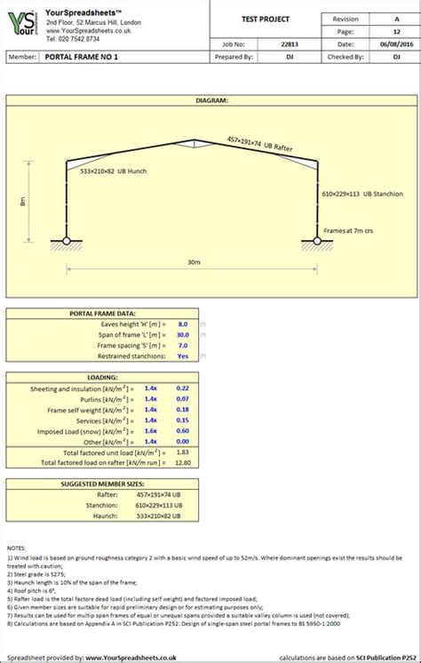 Portal Frame Design To Bs 5950 | steel portal frame sizing spreadsheet to bs 5950
