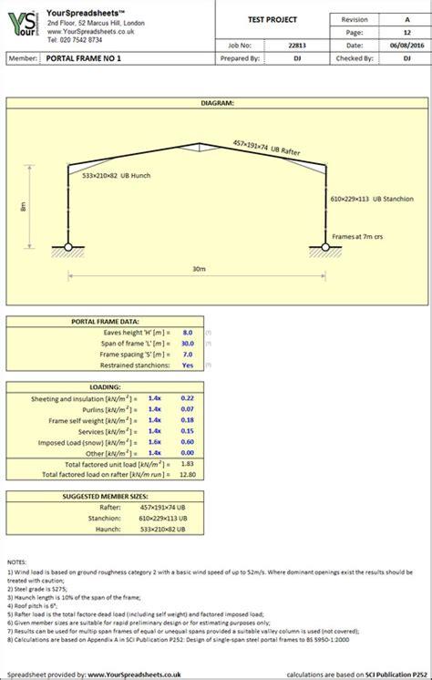 Portal Frame Design Xls | steel portal frame sizing spreadsheet to bs 5950
