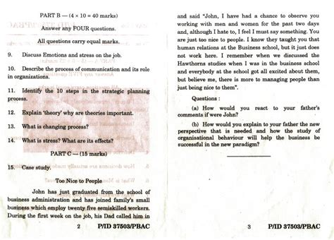 Madras Distance Education Mba 1st Year Model Question Paper by Of Madras Politics Organisational Behavoiur Mba