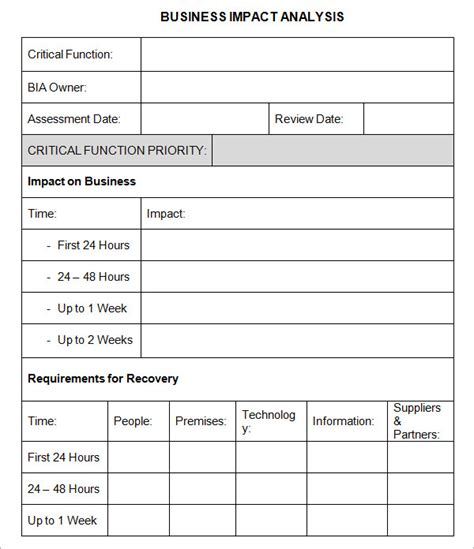 business impact analysis template business impact analysis 6 free pdf doc