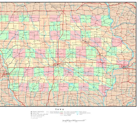 detailed map of iowa iowa political map