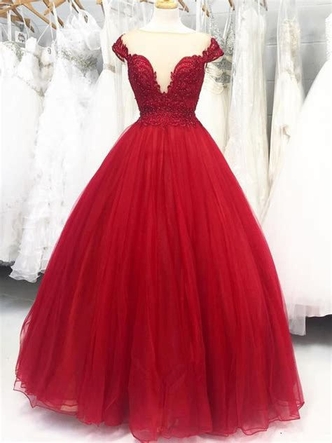 scoop red long tulle ball gown quinceanera dress