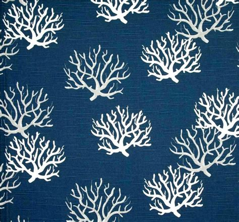 coastal fabrics for upholstery coastal corals navy blue fabric by the yard designer nautical