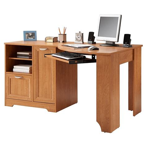 Realspace Magellan Corner Desk Realspace Magellan Collection Corner Desk 30 H X 59 12 W X 39 D Honey Maple By Office Depot