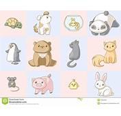 Jogo Do Kawaii Dos Animais Imagens De Stock Royalty Free