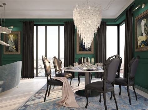 dark green room gorgeous classical style interior with a note of modern
