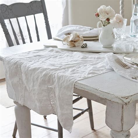 lace inset white runner rachel ashwell shabby chic couture