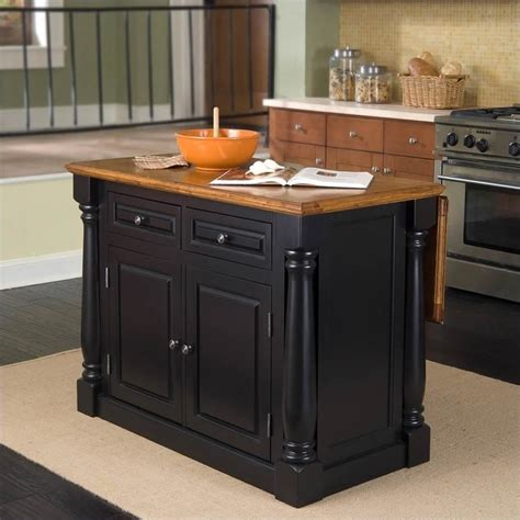 Oak Kitchen Carts And Islands - home styles monarch kitchen island in black and oak finish ebay