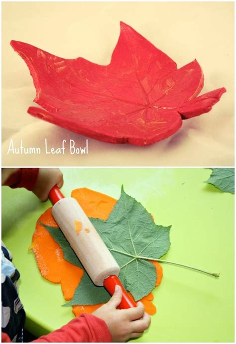 clay crafts for fall leaf bowl air clay craft project for children