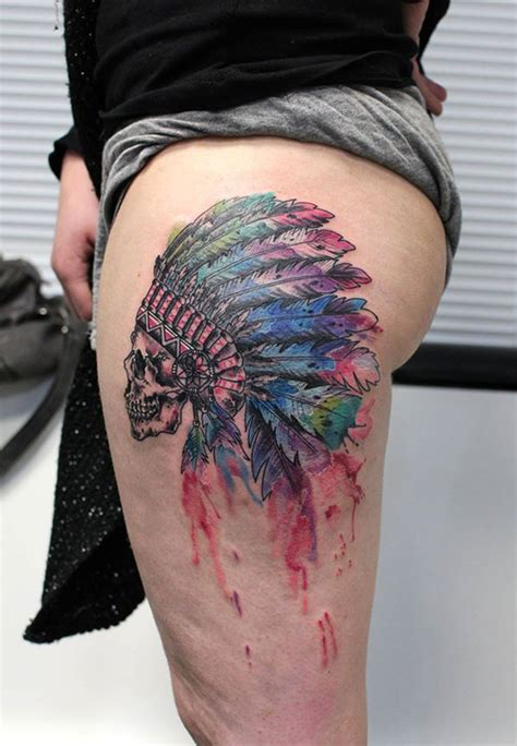 skull amp indian headdress best tattoo design ideas