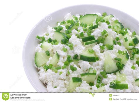 Cottage Cheese And Cucumber cottage cheese with cucumber and chives royalty free stock photo image 30669275