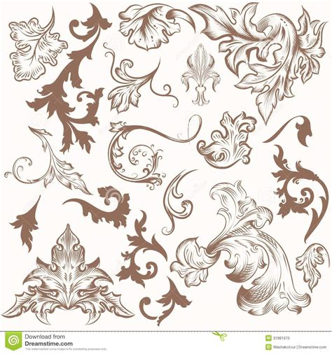 ornaments design collection of vintage vector swirl ornaments for design