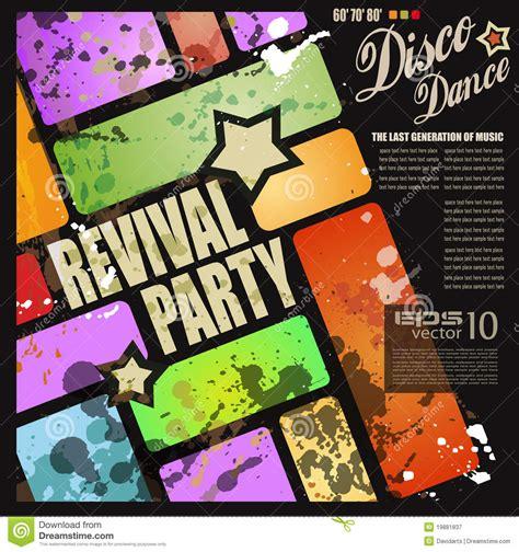 retro revival disco party flyer royalty free stock