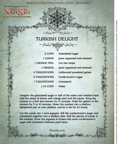 turkish delight recipe from narnia and finally here s cassie s response to a letter from last