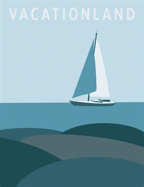 sailboat retro retro travel poster digital art print sailboat to by