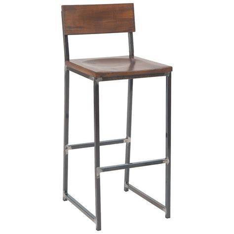 industrial metal bar stools with backs industrial series metal bar stool with wood back and seat