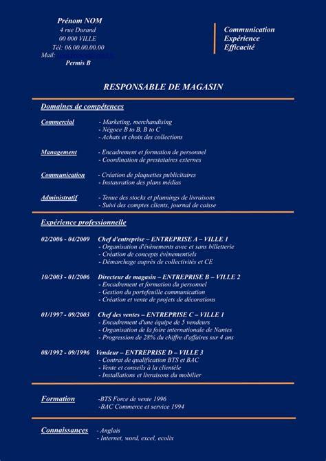 Modèle Cv Télécharger Gratuit by Modele De Cv Gratuit Responsable Magasin Sle Resume