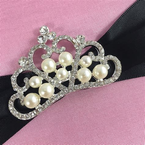 Crown Brooch pink silk invitation pad black sash with pearl crown